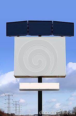 Several empty billboards