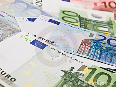Several euro banknotes