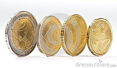 Several euro coins