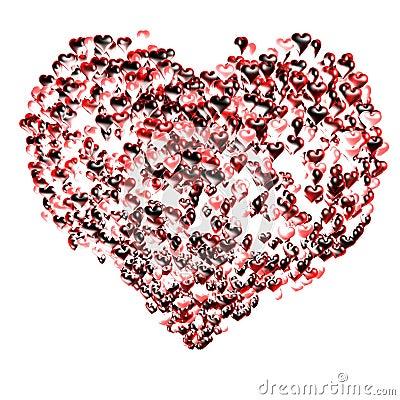 Several hearts balloons