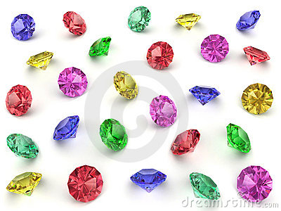 Several multi-coloured gemstones