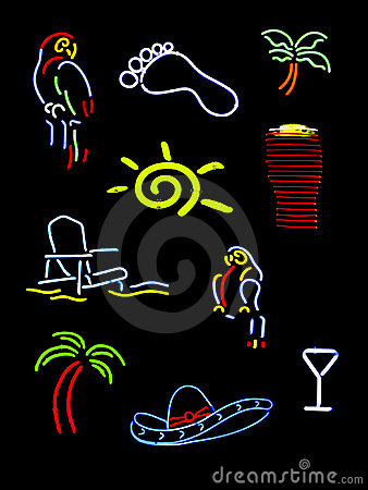 Several neon signs