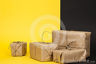 Several packages wrapped with paper