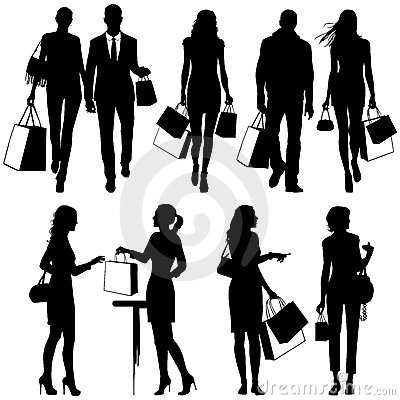Several people, shopping -  silhouettes