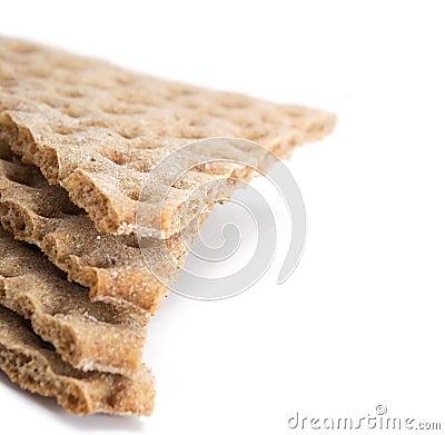 Several pieces of crisp cereal bread