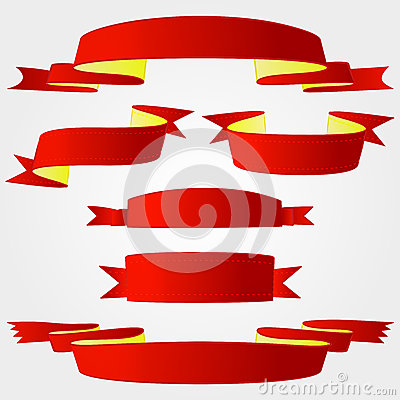 Several red ribbon selection pack vector series