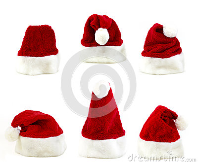 Several santa claus cap