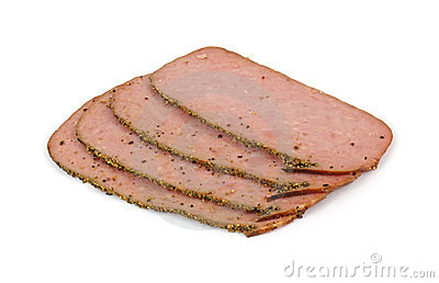 Several slices of turkey pastrami