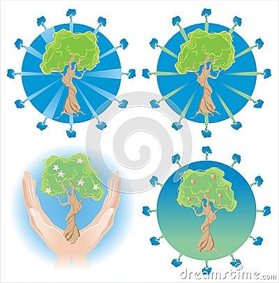 Several tree logos