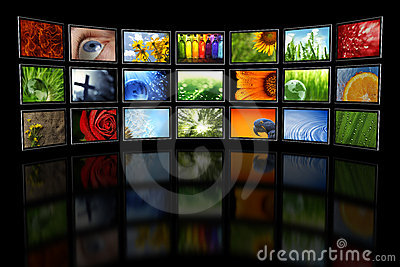 Several TVs with images