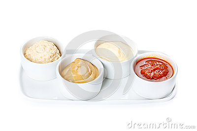Several types of sauce