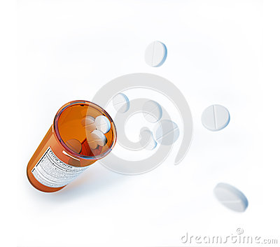 Several white pills, jumping out of the orange open jar.