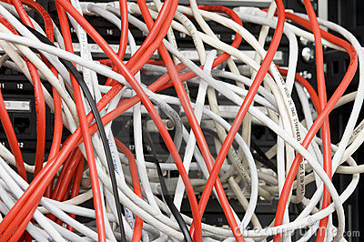 Several white and red computer data cables