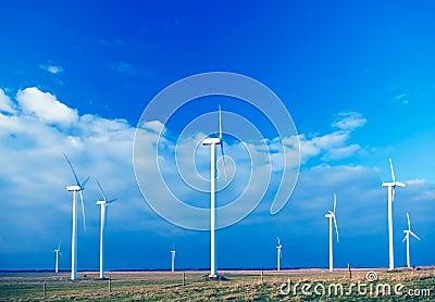 Several wind turbines.