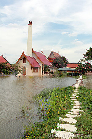 Severe flood in Ayutthaya Thailand Editorial Photography
