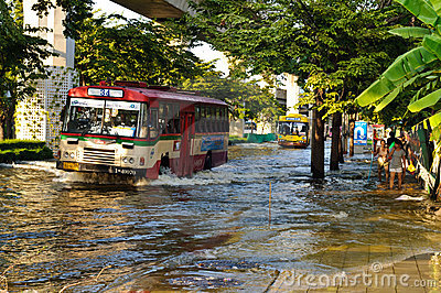 Severe flood in Bangkok, Thailand Editorial Photo
