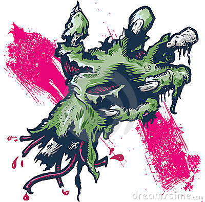 Severed rotting hand halloween illustration