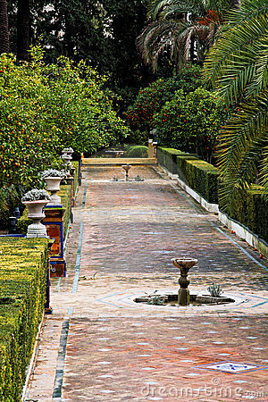 Seville, Fountains in Real Alcazar Gardens