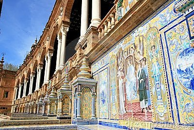 Seville. Plaza Espana Typical Ceramics Azulejos Royalty Free Stock Photography - Image: 14243237