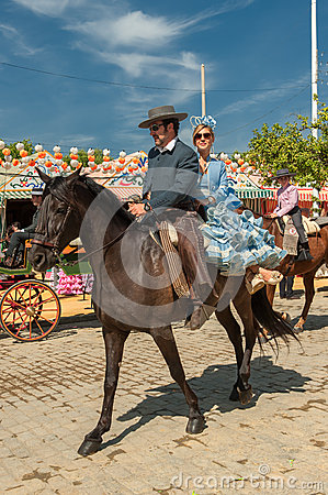 SEVILLE, SPAIN - April, 25: Horse riders at the Seville s April Editorial Stock Photo