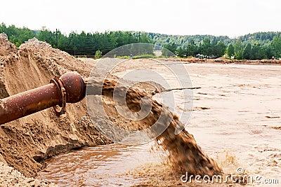 Sewage flowing