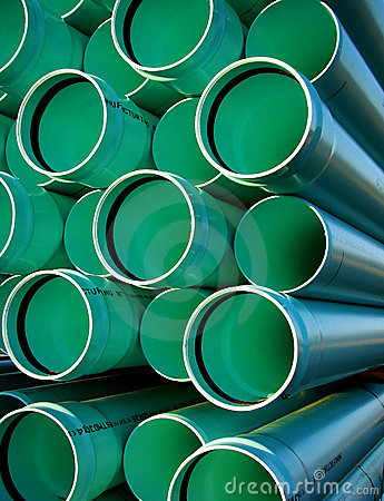 Free Sewer Drain PVC Pipes On Housing Construction Site Stock Photography - 1445052