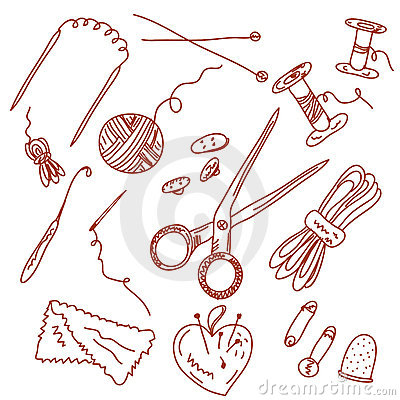 Free Sewing And Knitting Doodles Royalty Free Stock Image - 14119506