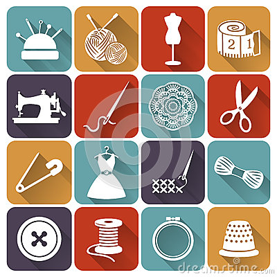 Free Sewing And Needlework Flat Icons. Vector Set. Stock Images - 41223324