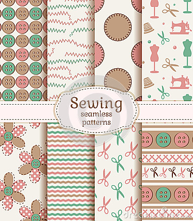 Free Sewing And Needlework Seamless Patterns. Vector Set. Royalty Free Stock Photo - 42617295