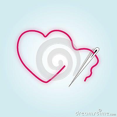 Sewing broken red heart