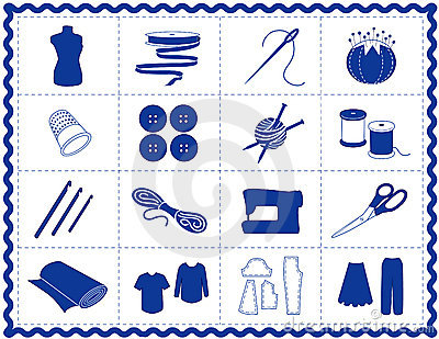 Sewing & Craft Icons, Blue Silhouette