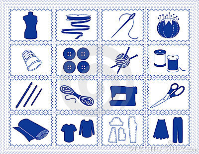 Sewing & Craft Icons, Blue Stitchery