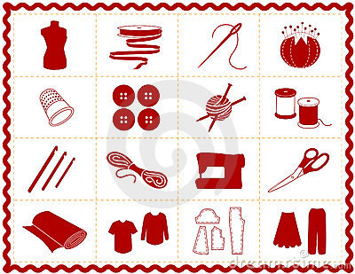 Sewing & Craft Icons, Red Silhouette