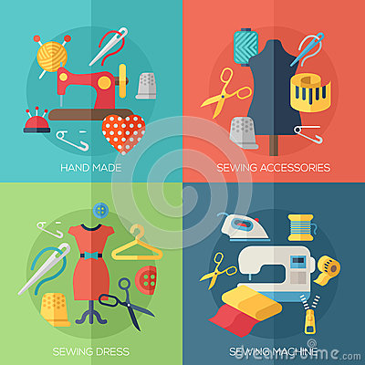 Free Sewing Dress, Accessories, Hand Made Icons Royalty Free Stock Images - 52186109