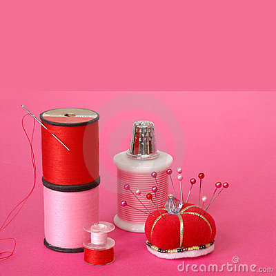 Sewing Notions on Pink Background