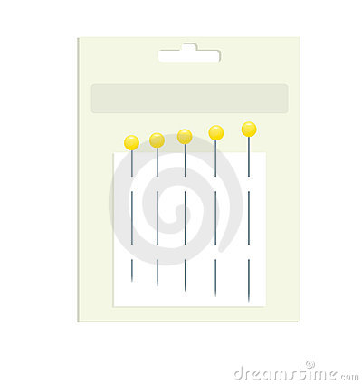 Sewing pins in product packaging