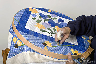 Sewing on quilt hoop