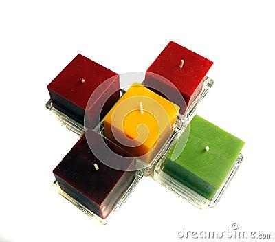 Sex färgar stearinljus