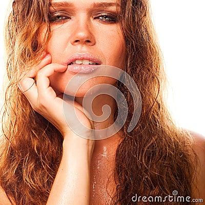 Sexig våt kvinna