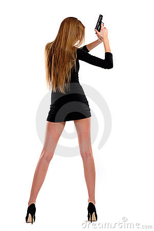 Free Sexual Girl With A Pistol Royalty Free Stock Photography - 18816517
