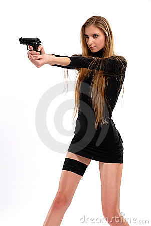 Free Sexual Girl With A Pistol Royalty Free Stock Image - 18816656