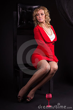Sexual  lady in red with wine glass
