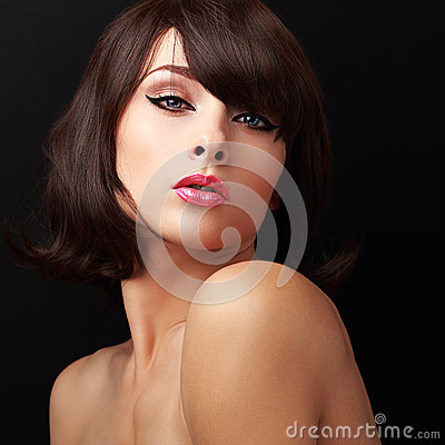 Free Sexual Makeup Woman With Red Sexy Lips And Short Brown Hair Royalty Free Stock Photography - 46176717