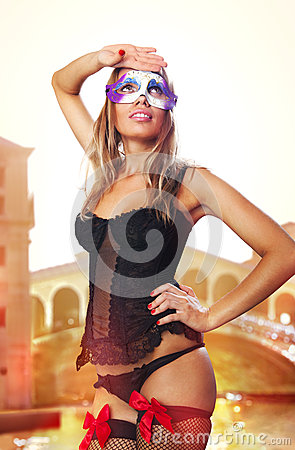 Sexual Venetian in carnival dress