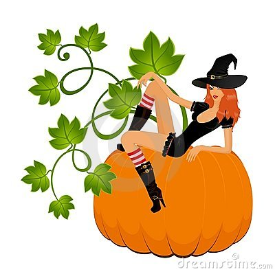 Sexual witch sits on a pumpkin