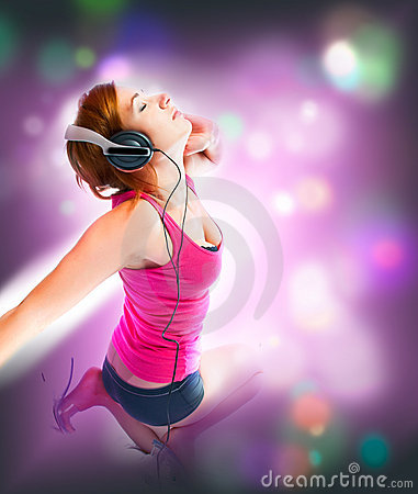 Free Sexual Woman In Headphones Royalty Free Stock Photos - 13884328