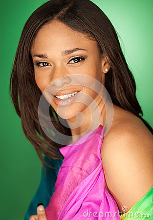 Free Sexy African American Fashion Model Wearing A Scarf Royalty Free Stock Image - 46453476