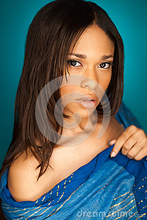 Free Sexy African American Fashion Model Wearing A Scarf Stock Image - 46453481