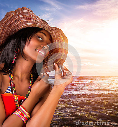 Free Sexy African Woman On The Beach Royalty Free Stock Image - 31774746