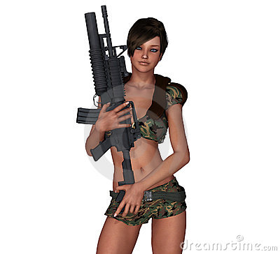 Sexy army girl with m16 machine gun